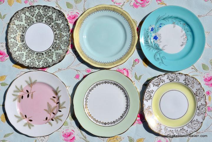 pastel eclectic vintage fine bone china tea plates