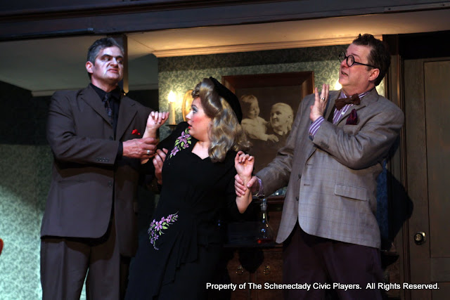 Daniel Martin, Sara Fittizzi and Richard Michael Roe in ARSENIC AND OLD LACE (R) - May 2011.  Property of The Schenectady Civic Players Theater Archive.