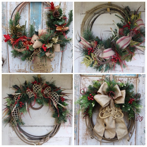 Rustic Christmas Rope Lasso Wreaths