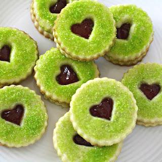 Grinch Heart Raspberry Filled Sugar Cookies