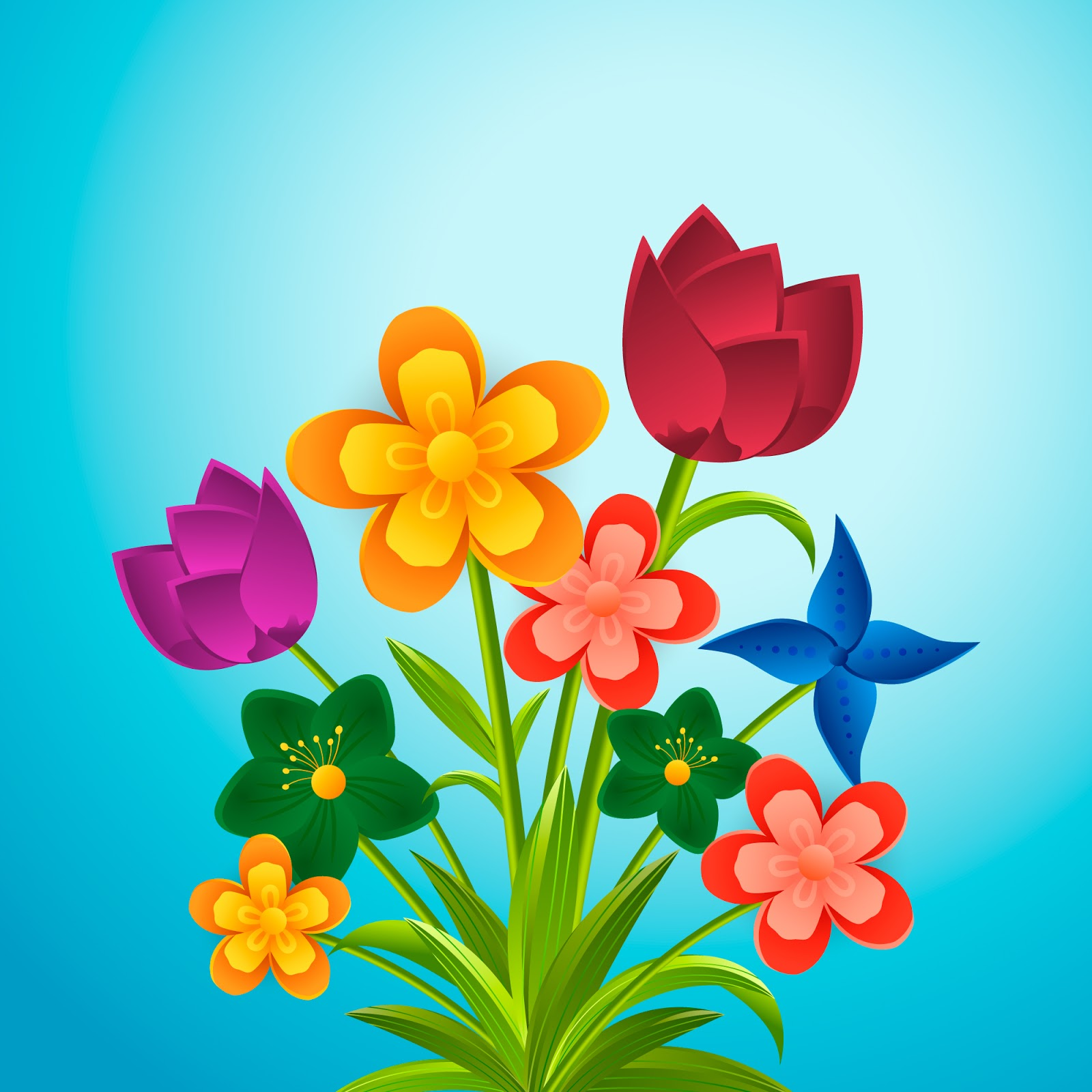 Gradient Paper Style Colourful Flowers Free Download Vector CDR, AI, EPS and PNG Formats