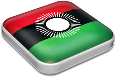 Flag of Malawi with metallic square frame