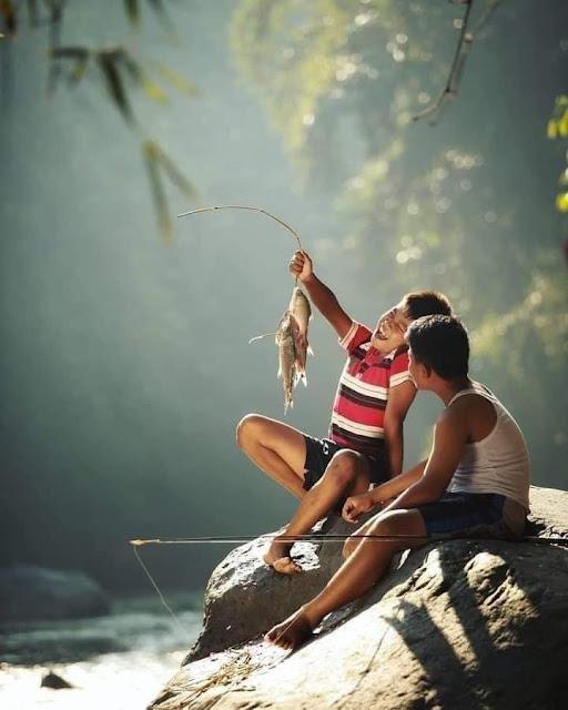 Kehidupan Di Kampung Indah Tanpa Gadget Pemandangan Desa Indonesia Memancing di Sungai