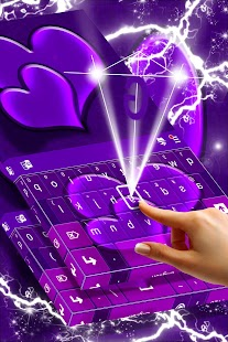 Purple Hearts For GO Keyboard - náhled