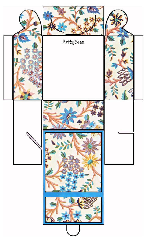 Artbyjean vintage indian print printable gift box square printable gift box square negle Images