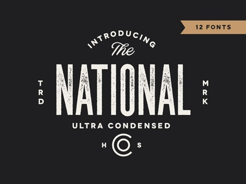 The national, familia de fuentes desgastadas ultra condensed.