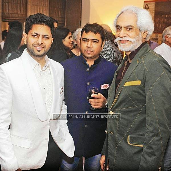 Praveen and Pradeep Goyal with Sunil Sethi during pre-show cocktail for Manish Arora's couture show at the French Embassy in Delhi.