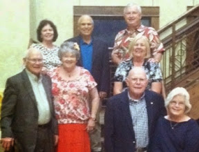 July 2014 dinner at the Army Residence Community Lakeside Restaurant: Terry & Bob Cairns, Linda & Glynn Mallory; Sharon & Phil Mallory, Mimi & David Brooks
