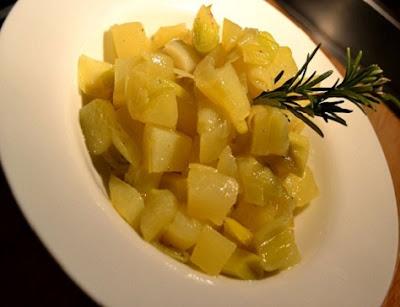 recette des pommes de terre et poireaux compotés au romarin