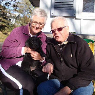"""Sofie"" with her new owners...Lee and Bill Miller.  This is the 2nd addition to their family from Rushwind."
