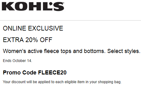 Kohls coupon 20% OFF Women's Active Apparel