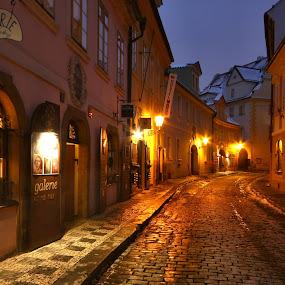 noční ulice Míšenská, Malá Strana, Prague by Irena Brozova - City,  Street & Park  Historic Districts ( prague )