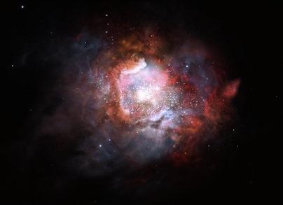 ilustração de uma galáxia empoeirada com formação estelar explosiva