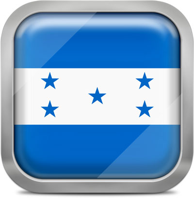 Honduras square flag with metallic frame