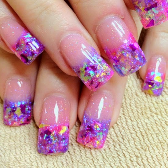 French tip acrylic nails glitter