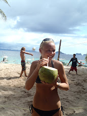 last stop on the boat island hopping tour- volleyball and fresh coconut!