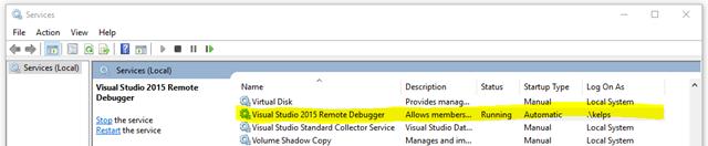 Serviço do Remote Debugger configurado no Windows com usuário local e execução Automática