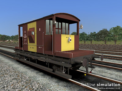 Fastline Simulation: Dia. 1/507 brake van lettered CAR for Railworks in clean bauxite and yellow livery with 3 tail lamps.