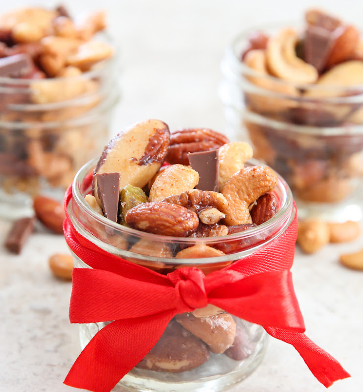 close-up photo of Holiday Spiced Mixed Nuts in a jar