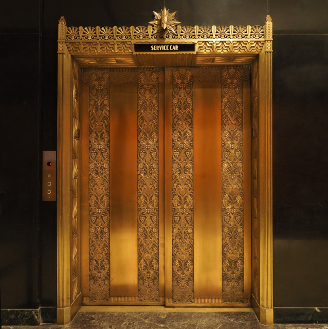 Beautiful art deco elevator in the Exchange Building.