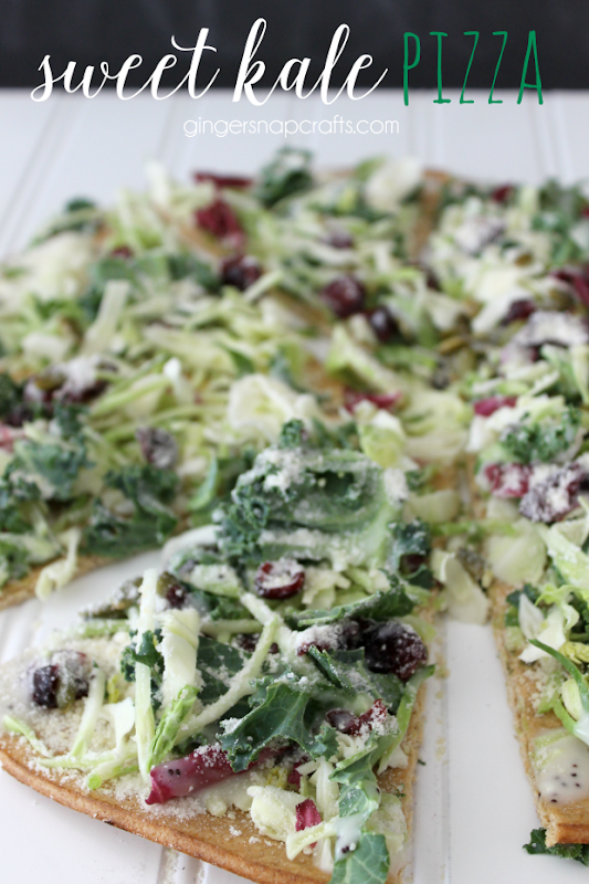 Sweet Kale Pizza at GingerSnapCrafts.com #pizza #recipe