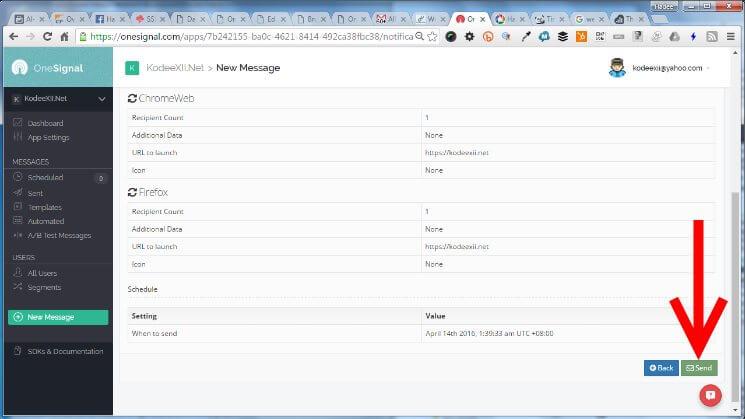 Web Push Notification OneSignal Send Message