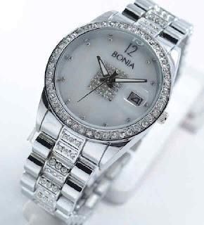 jam tangan Bonia date ring diamond silver