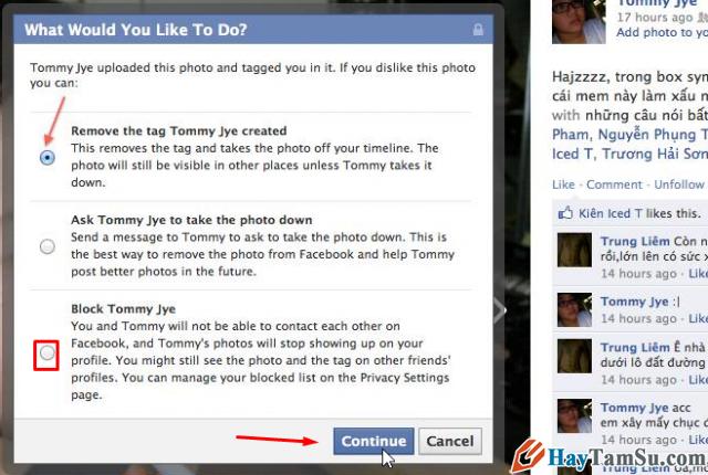 cấm không cho người khác tag tên facebook