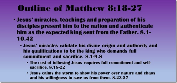 Outline of Matthew 8.18-27