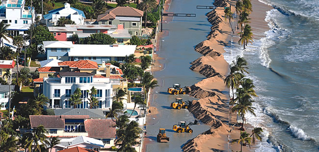 Aerial view of sand berm construction along Florida State Road A1A. In 2012, Hurricane Sandy damaged the A1A in Fort Lauderdale. Photo: Susan Stoker / Sun-Sentinel