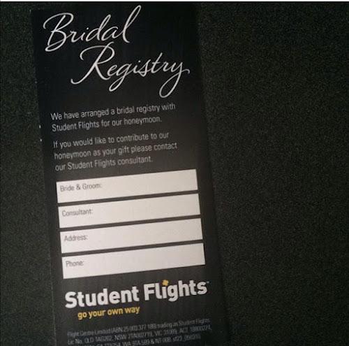Bridal registry ticket from student flights