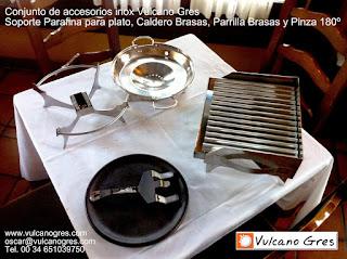 CONJUNTO DE SOPORTES EN ACERO INOXIDABLE PARA PIEZAS REFRACTARIAS VULCANO GRES, SOPORTE PARAFINA INFLAMABLE PLATO REFRACTARIO, PARRILLA BRASAS, CALDERO BRASAS Y PINZAS 180º.