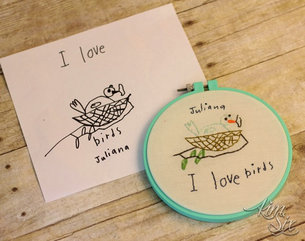 Embroidery of children s drawings