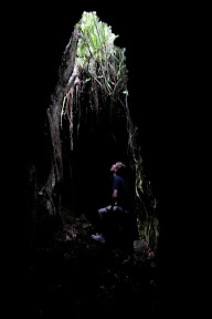 Looking thoughtful in a lava cave