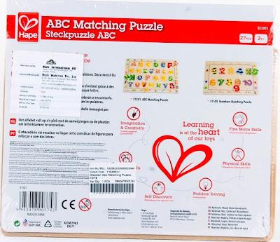Hình ảnh mặt sau của bộ Ráp hình Chữ cái Hape ABC Matching Puzzle