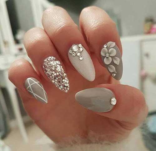 Spring Glittered Nail Design