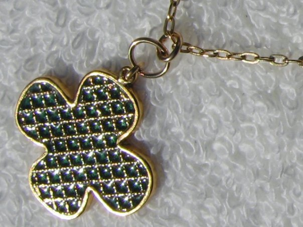 Gold Plated and Green Enamel Mesh Clover