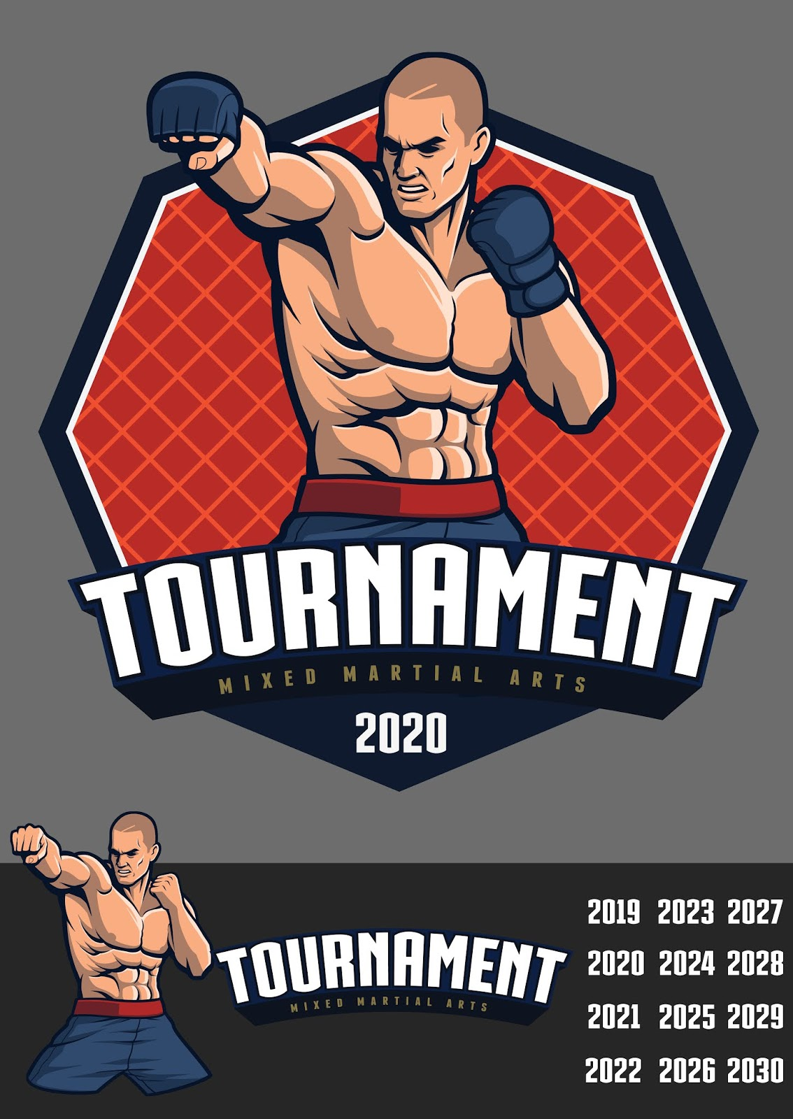 Mma Fighter Design Badge Logo Free Download Vector CDR, AI, EPS and PNG Formats