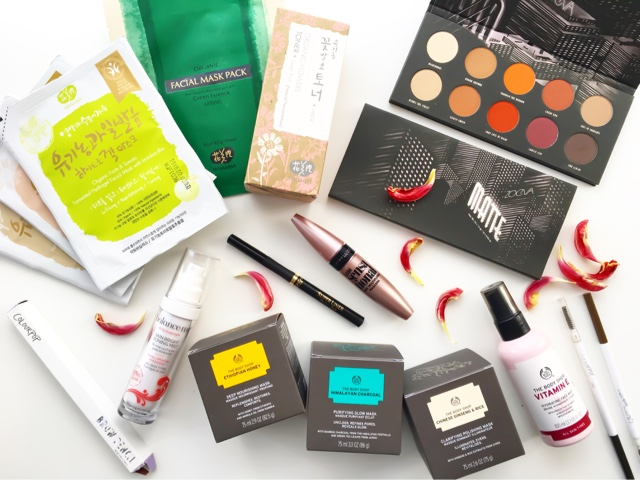 whamisa skincare, zoeva matte palette swatches, makeup haul, skincare haul, the body shop masks