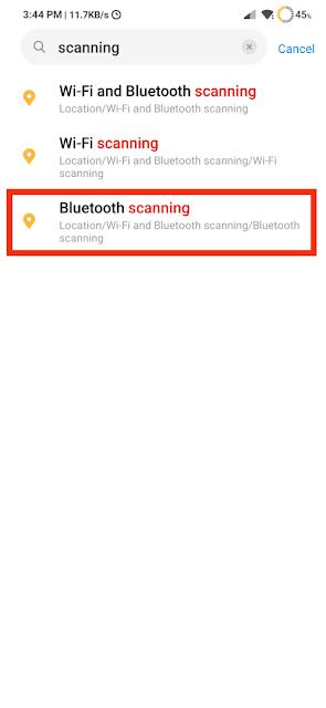 Choose Bluetooth Scanning