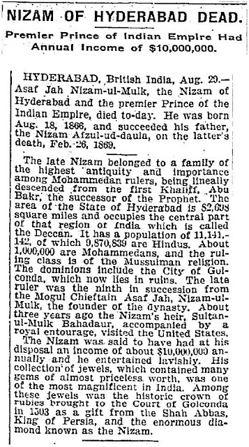Hyderabad - Rare Pictures - Nizam1911NYTimes.JPG