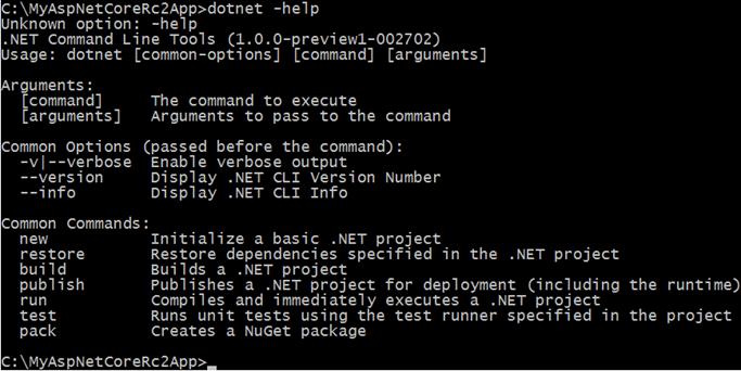 Salida por consola del nuevo comando dotnet