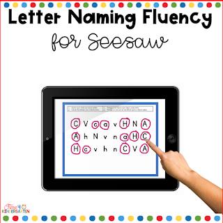 Letter Naming Fluency digital activity Seesaw Learning