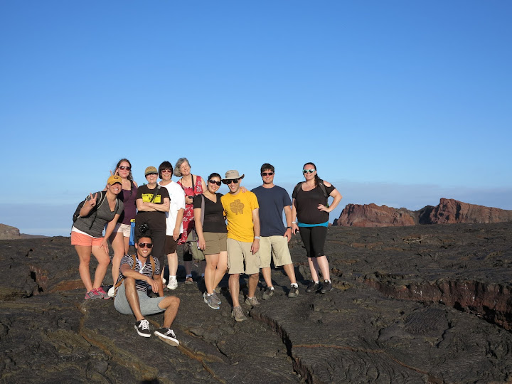 Group picture on Sullivan's Bay lava field on Santiago Island, Galapagos