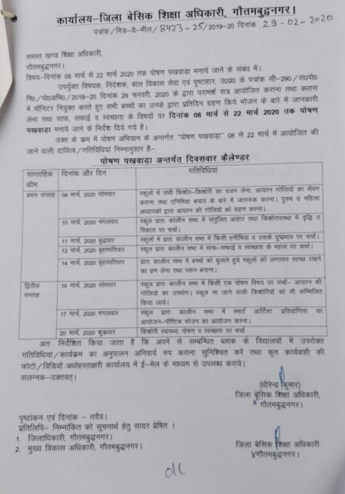 विषय-दिनांक 09 मार्च से 22 मार्च 2020 तक पोषण पखवाड़ा मनाये जाने के संबंध में