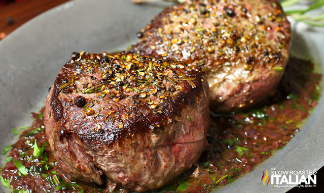 Pan seared steak with red wine sauce