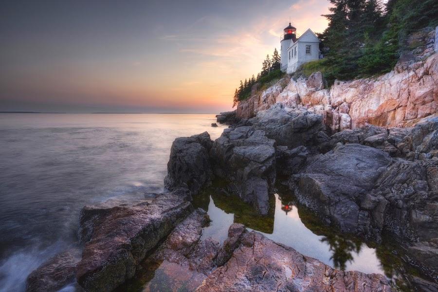Ocean's Calm by Ken Smith - Buildings & Architecture Public & Historical ( maine, acadia national park, lighthouse, bass harbor lighthouse, landscape )