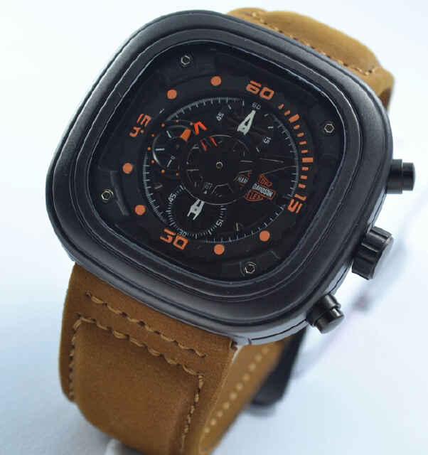 Jual jam tangan Harley davidson chrono brown leather oren