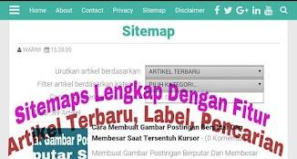 Sitemap Lengkap Dengan Fitur Artikel Terbaru, Label dan Pencarian