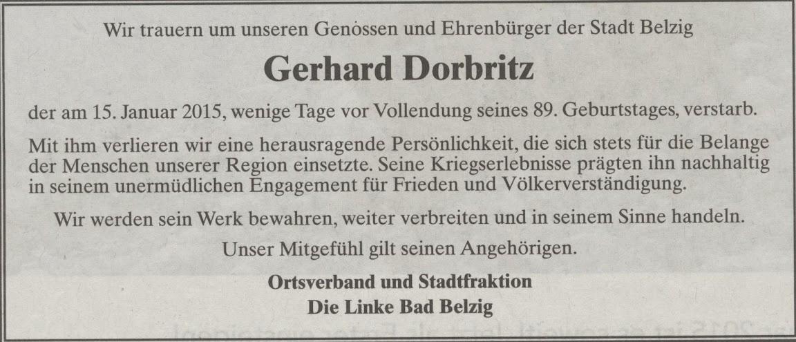 Nachruf für Gerhard Dorbritz von der Partei